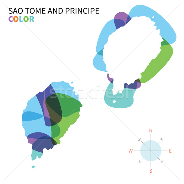 Abstract vector color map of Sao Tome and Principe with transparent paint effect. Stock photo © tkacchuk