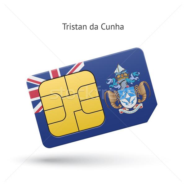 Tristan da Cunha mobile phone sim card with flag. Stock photo © tkacchuk