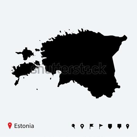 高い 詳しい ベクトル 地図 エストニア ナビゲーション ストックフォト © tkacchuk