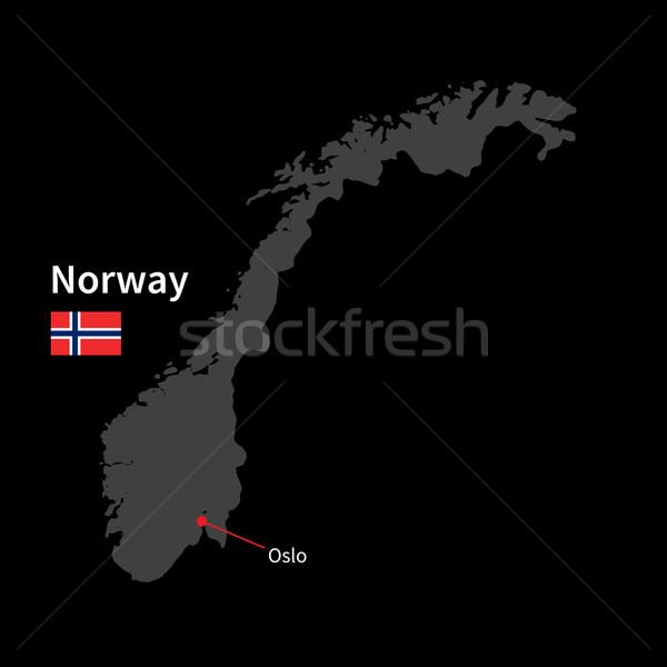 詳しい 地図 ノルウェー 市 オスロ フラグ ストックフォト © tkacchuk