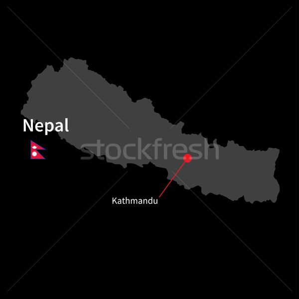Detailed map of Nepal and capital city Kathmandu with flag on black background Stock photo © tkacchuk