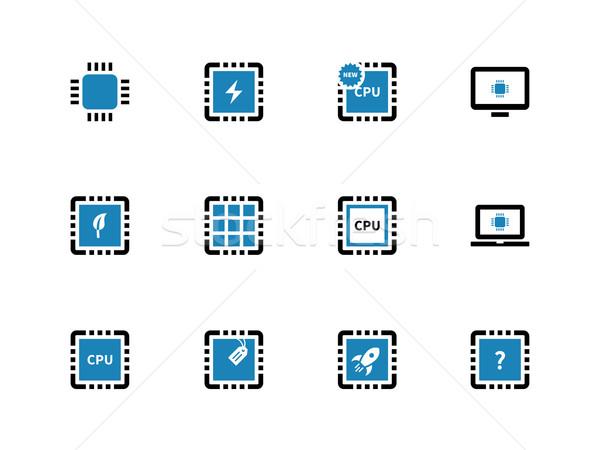Computer microchip cpu icone bianco design Foto d'archivio © tkacchuk