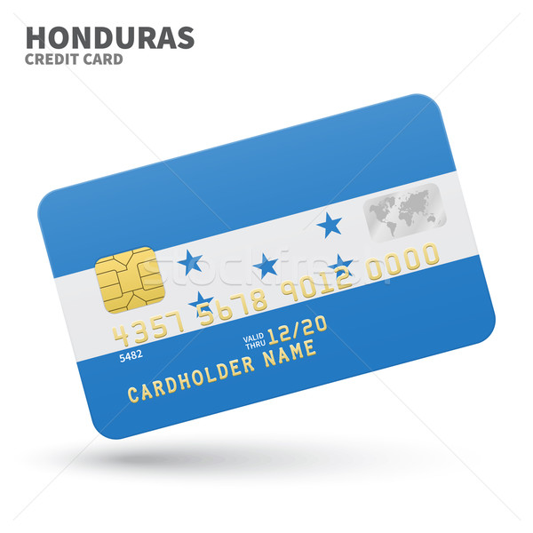 Credit card with Honduras flag background for bank, presentations and business. Isolated on white Stock photo © tkacchuk