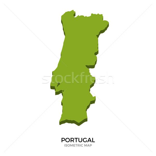 Izometrikus térkép Portugália részletes izolált 3D Stock fotó © tkacchuk