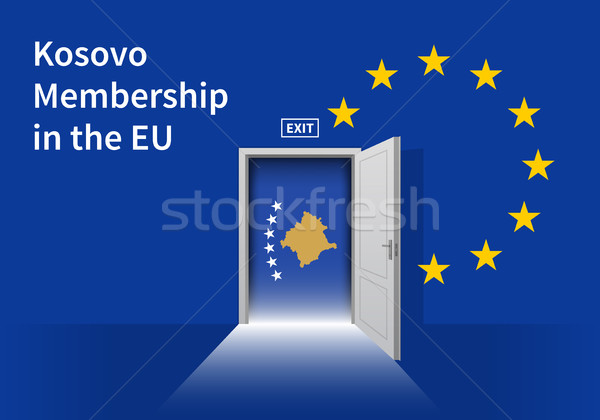 European Union flag wall with Kosovo flag door. EU Flag. Stock photo © tkacchuk