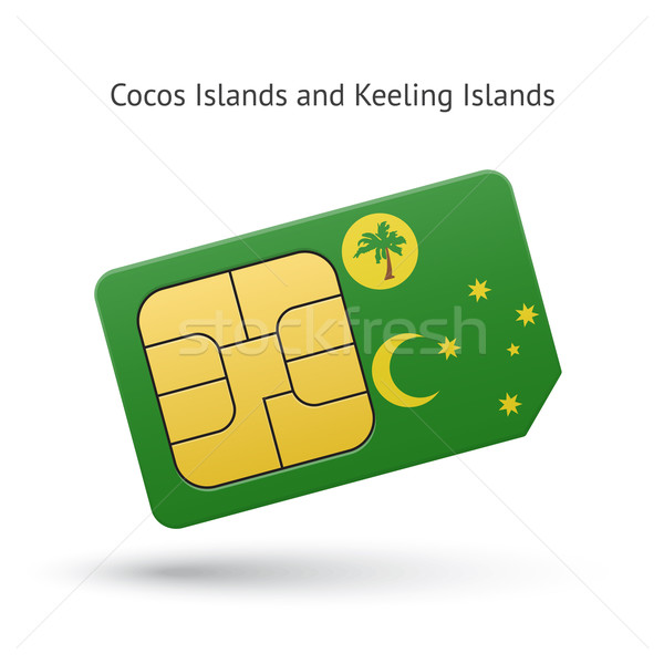 Cocos and Keeling Islands mobile phone sim card with flag. Stock photo © tkacchuk