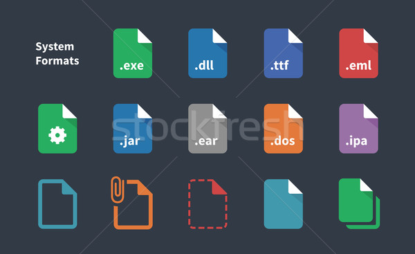 Set of System File Formats icons. Stock photo © tkacchuk