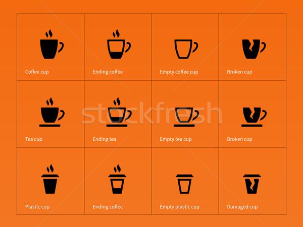 Taza de café iconos naranja negocios café construcción Foto stock © tkacchuk