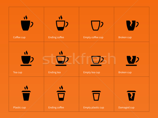 Koffiemok iconen oranje business koffie bouw Stockfoto © tkacchuk