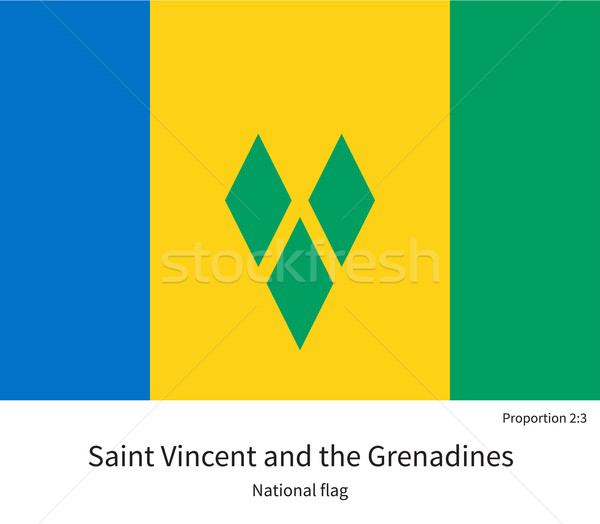 National flag of Saint Vincent and Grenadines with correct proportions, element, colors Stock photo © tkacchuk