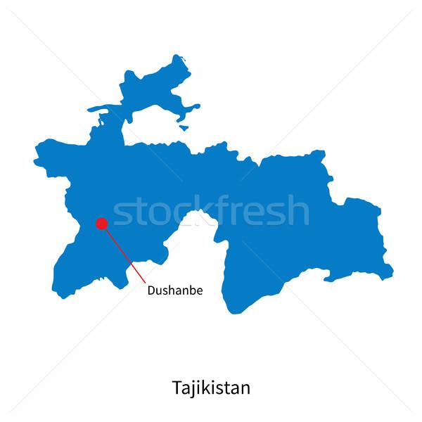 подробный вектора карта Таджикистан город образование Сток-фото © tkacchuk