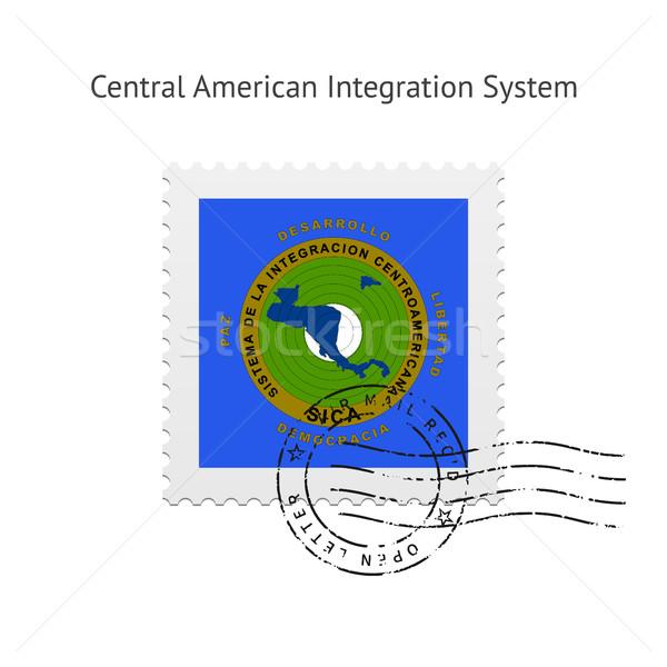 центральный американский интеграция флаг почтовая марка белый Сток-фото © tkacchuk