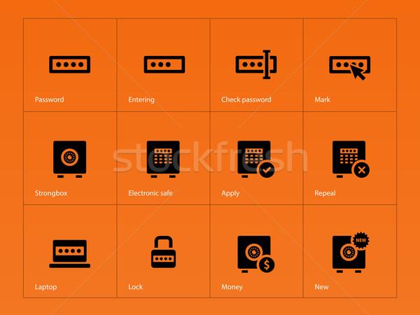 Contraseña iconos naranja ordenador diseno ventana Foto stock © tkacchuk