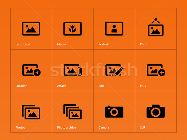 Photographs and Camera icons on orange background. Stock photo © tkacchuk