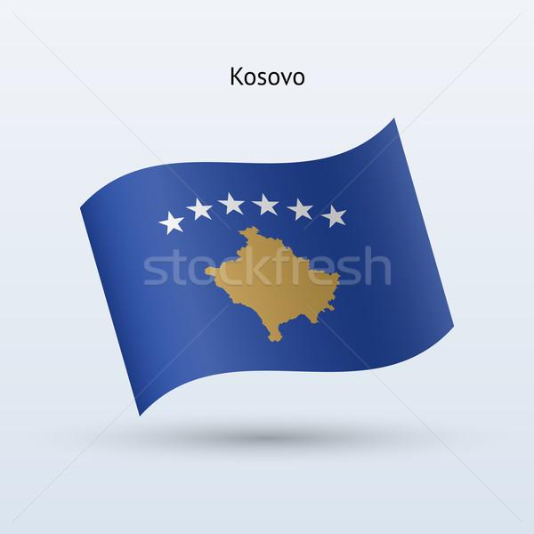 Kosovo flag waving form. Vector illustration. Stock photo © tkacchuk