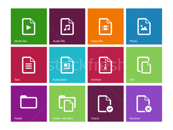 Set of Files icons on color background. Stock photo © tkacchuk