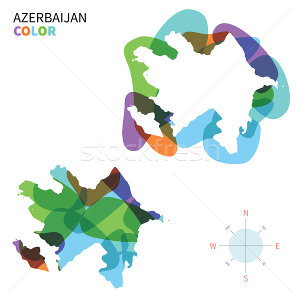 Abstract vector color map of Azerbaijan with transparent paint effect. Stock photo © tkacchuk