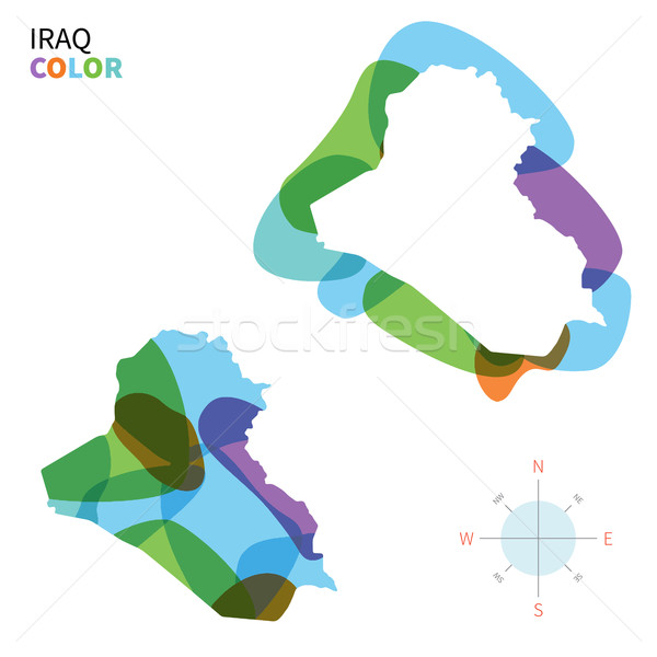 Abstract vector color map of Iraq with transparent paint effect. Stock photo © tkacchuk