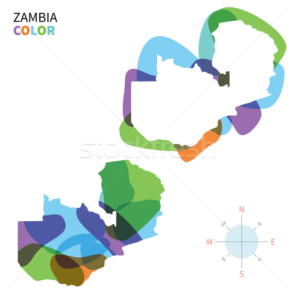 Abstract vector color map of Zambia with transparent paint effect. Stock photo © tkacchuk