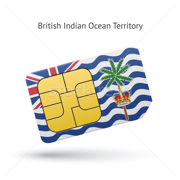 British Indian Ocean Territory mobile phone sim card with flag. Stock photo © tkacchuk