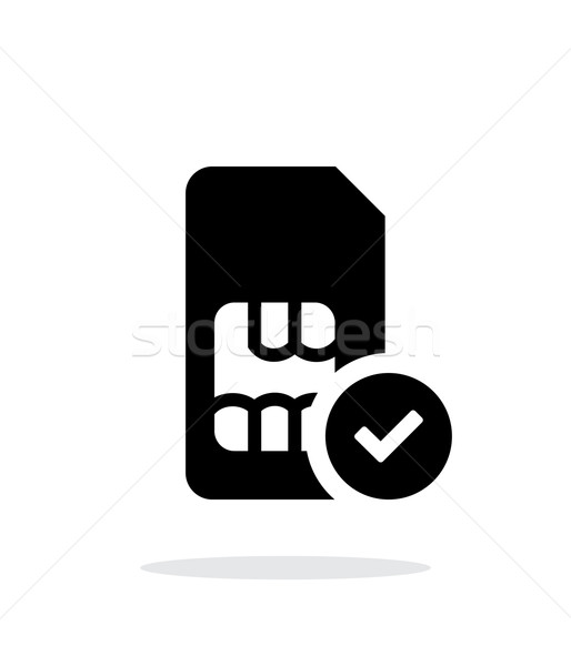 SIM card with accept sign simple icon on white background. Stock photo © tkacchuk