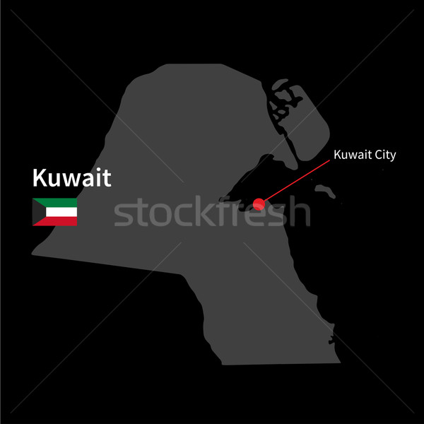 Detalhado mapa Kuweit cidade bandeira preto Foto stock © tkacchuk