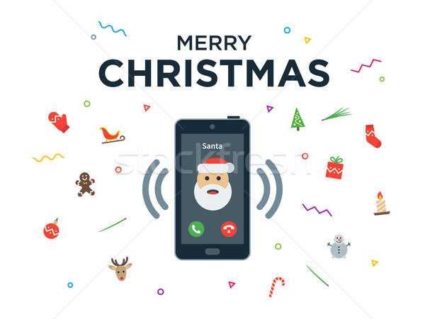 Christmas phone call from Santa Claus with Greeting Card and Happy New Year lettering Stock photo © tkacchuk