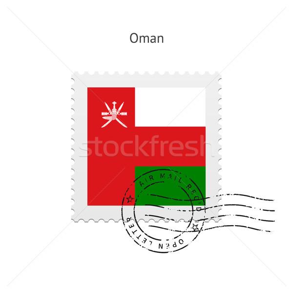 Omán zászló postabélyeg fehér felirat levél Stock fotó © tkacchuk