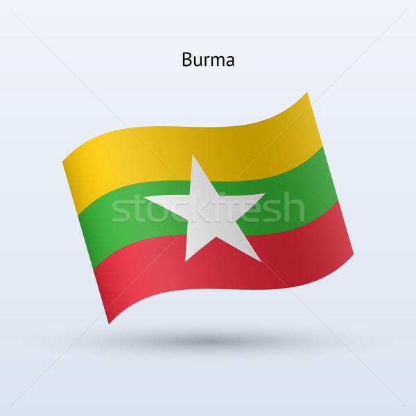 Birma vlag vorm grijs reizen Stockfoto © tkacchuk