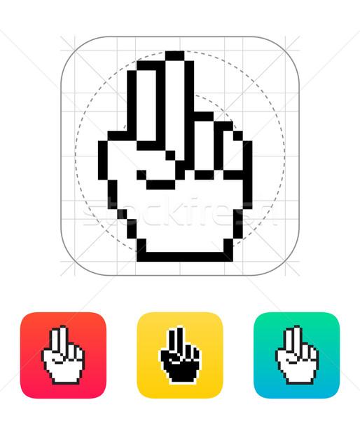 Due dita pixel mano cursore icona Foto d'archivio © tkacchuk