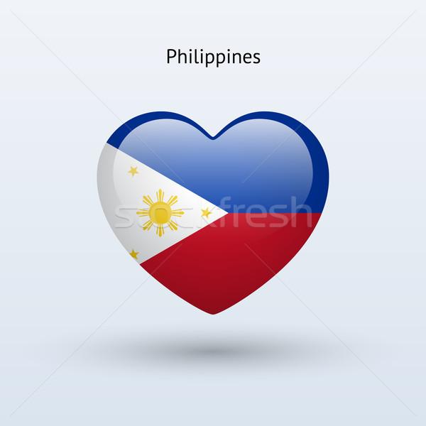 Szeretet Fülöp-szigetek szimbólum szív zászló ikon Stock fotó © tkacchuk