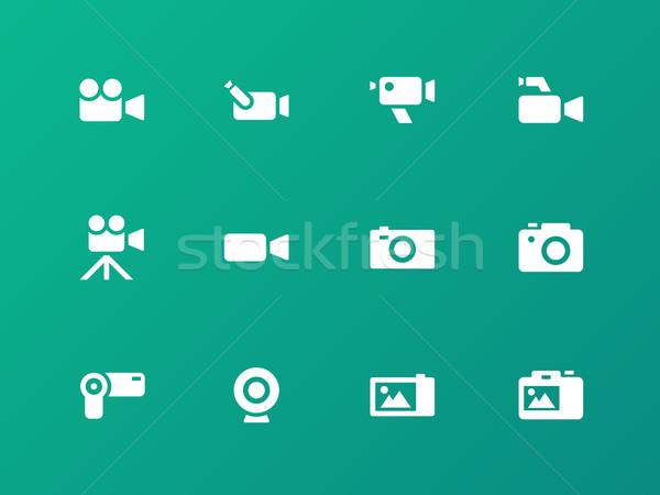 Camera icons on green background. Stock photo © tkacchuk