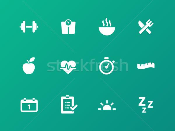 Fitness icons on green background. Stock photo © tkacchuk