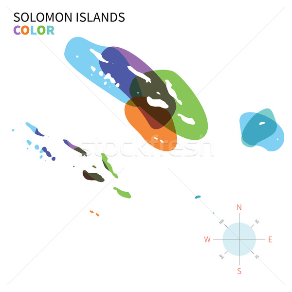 Abstract vector color map of Solomon Islands with transparent paint effect. Stock photo © tkacchuk
