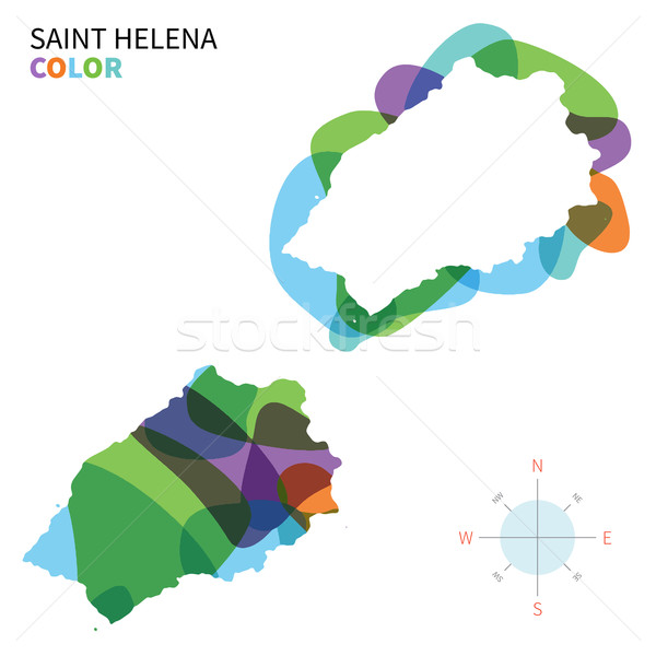Abstract vector color map of Saint Helena with transparent paint effect. Stock photo © tkacchuk