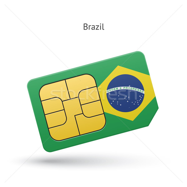 Brazil mobile phone sim card with flag. Stock photo © tkacchuk
