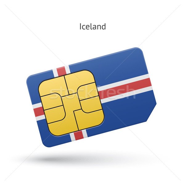 Iceland mobile phone sim card with flag. Stock photo © tkacchuk