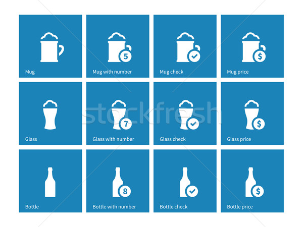 Bottle and glass of beer icons on blue background. Stock photo © tkacchuk