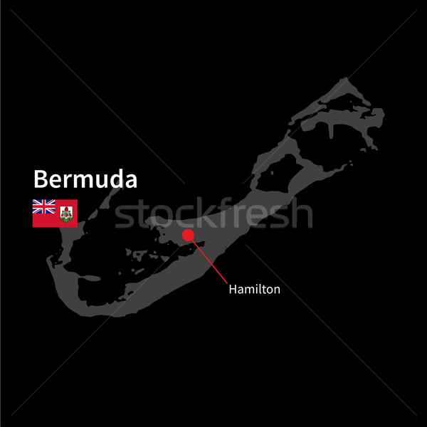 Detailed map of Bermuda and capital city Hamilton with flag on black background Stock photo © tkacchuk