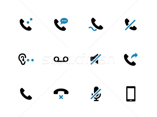 Mobile phone handset duotone icons on white background. Stock photo © tkacchuk