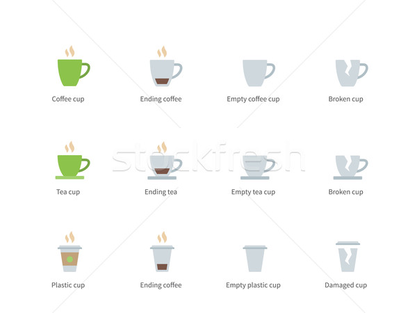 Coffee cup color icons on white background Stock photo © tkacchuk