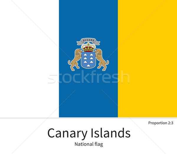 National flag of Canary Islands with correct proportions, element, colors Stock photo © tkacchuk