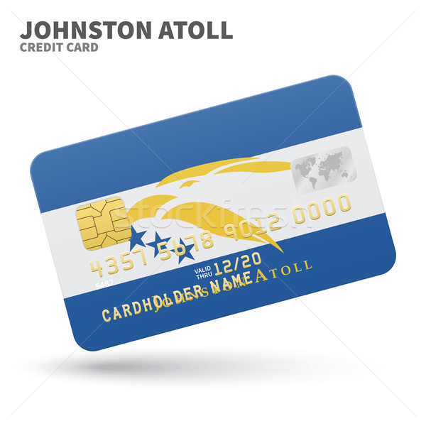 Credit card with Johnston Atoll flag background for bank, presentations and business. Isolated on wh Stock photo © tkacchuk