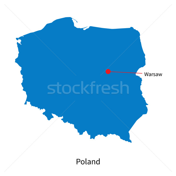 Detailed vector map of Poland and capital city Warsaw Stock photo © tkacchuk