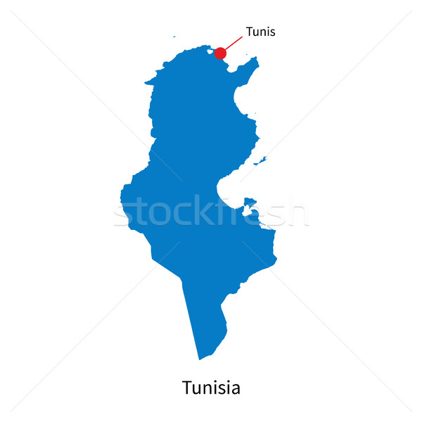 Detailed vector map of Tunisia and capital city Tunis Stock photo © tkacchuk