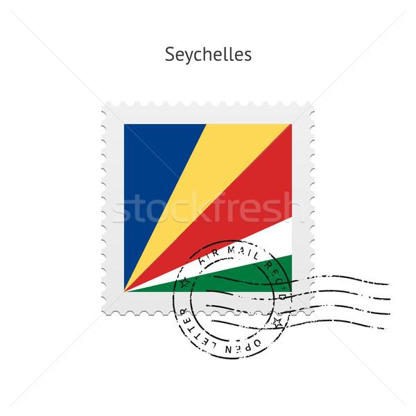 Сейшельские острова флаг почтовая марка белый знак письме Сток-фото © tkacchuk