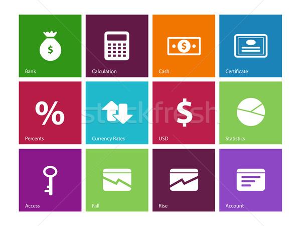 Economy icons on color background. Stock photo © tkacchuk