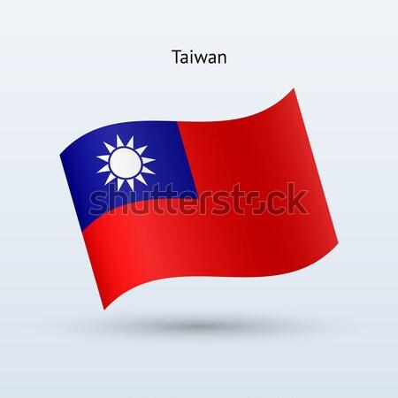 Taiwan flag waving form. Vector illustration. Stock photo © tkacchuk