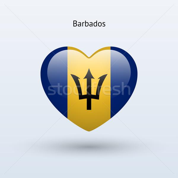 Szeretet Barbados szimbólum szív zászló ikon Stock fotó © tkacchuk