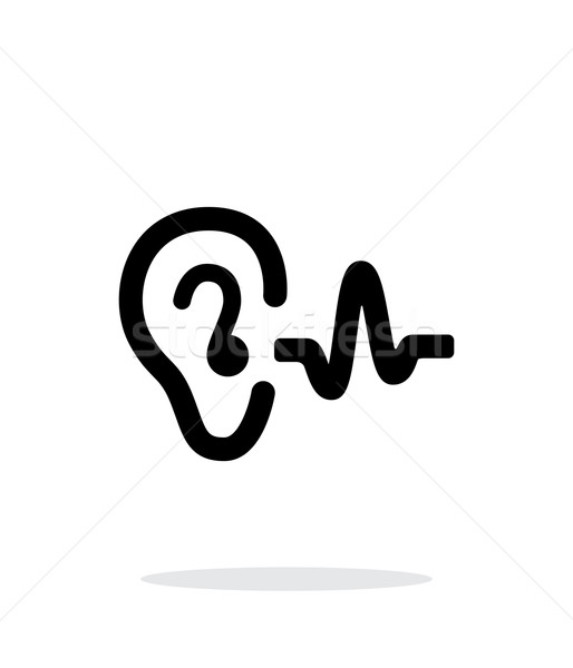 Ear hearing sound icon on white background. Stock photo © tkacchuk